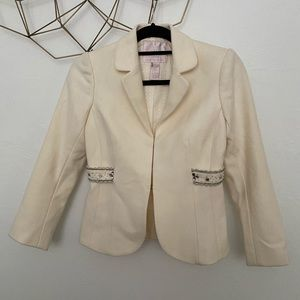 Rebecca Taylor White Cream Wool Blazer Jacket - 2